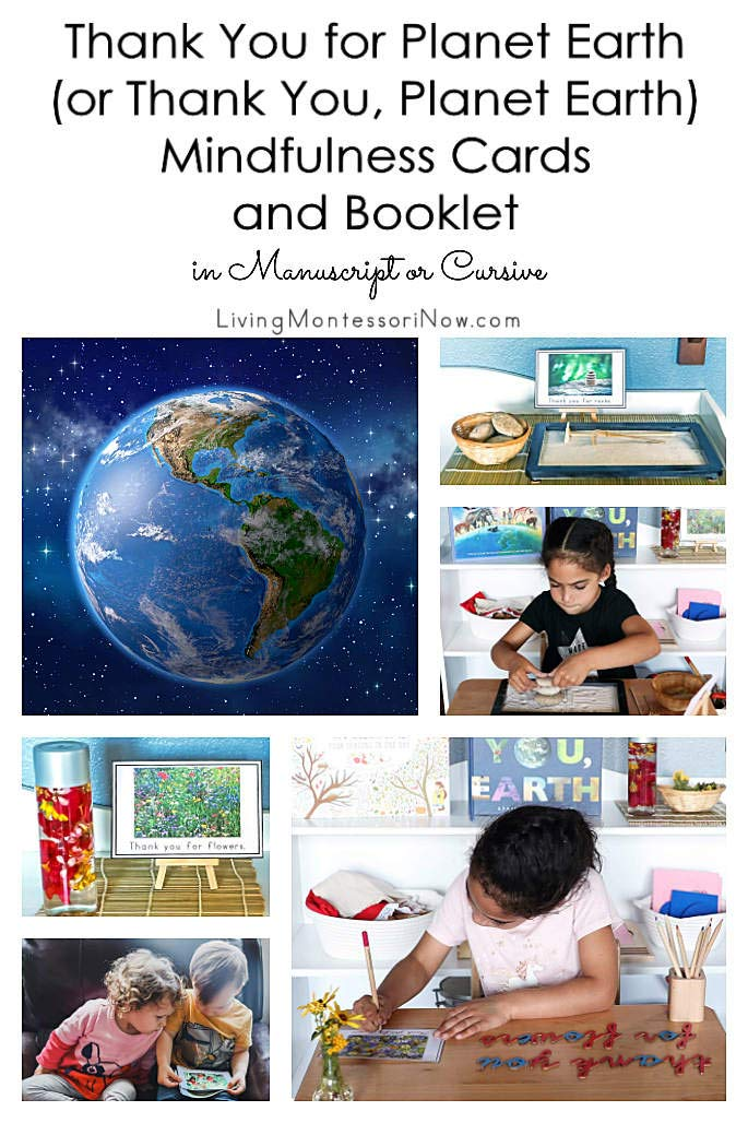 Thank You for Planet Earth (or Thank You, Planet Earth) Mindfulness Cards and Booklet in Manuscript or Cursive