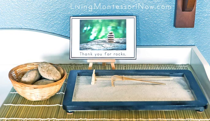 """Thank You for Rocks"" Mindfulness Card with Rock Basket and Zen Garden"