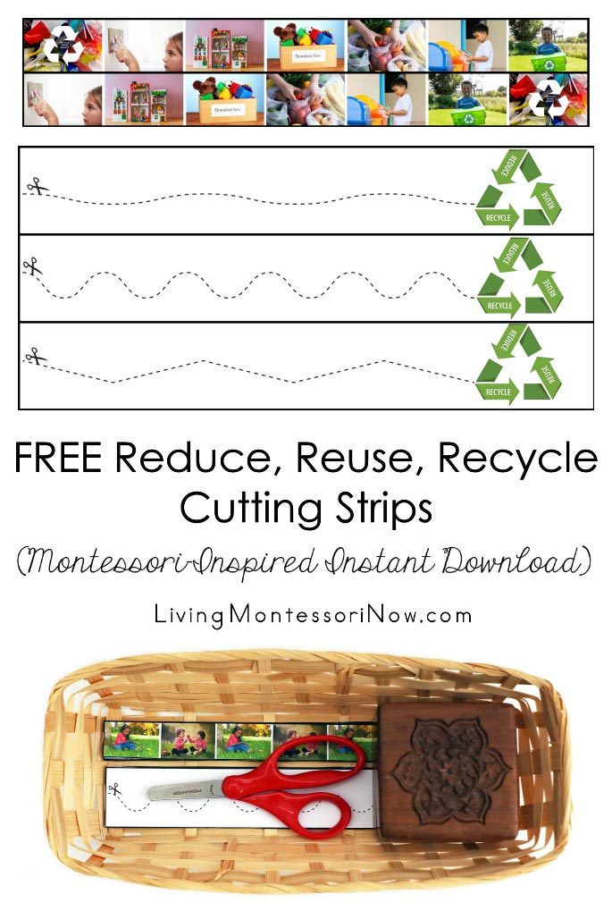 FREE Reduce, Reuse, Recycle Cutting Strips (Montessori-Inspired Instant Download)