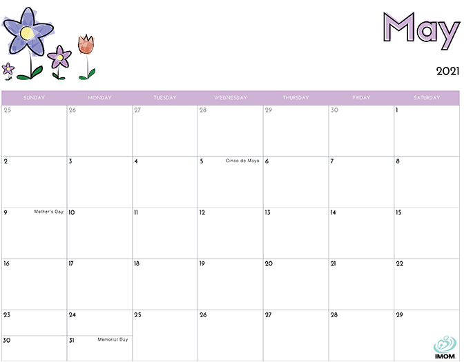 May 2021 Calendar from iMom