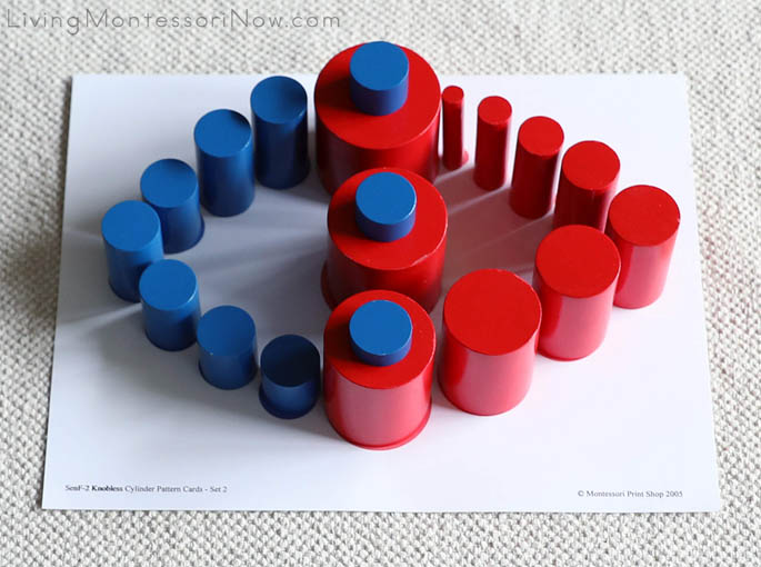Red and Blue Knobless Cylinders with Printable from Knobless Cylinder Pattern Cards - Set 2