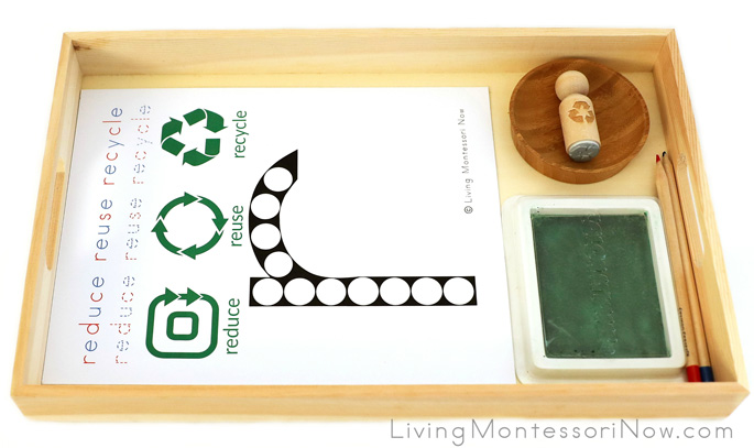 Reduce, Reuse, Recycle Letter R Do-a-Dot Tray with Rubber Stamp Work