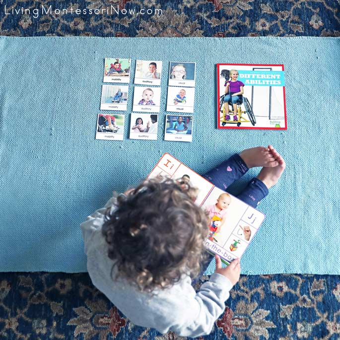 Toddler work with Types of Disabilities Sorting Cards and Books Kids Like Me ... Learn ABCs and Different Abilities