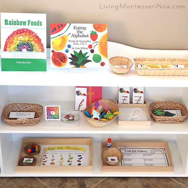 Montessori Shelves with an Eat-a-Rainbow Theme