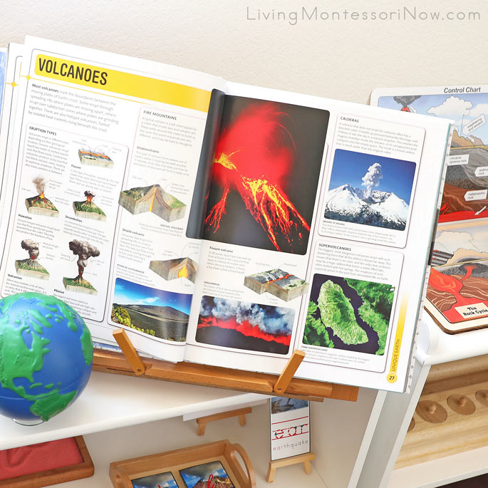 DK Smithsonian Super Earth Encyclopedia with Alison's Montessori Elementary Geology Materials in the Background
