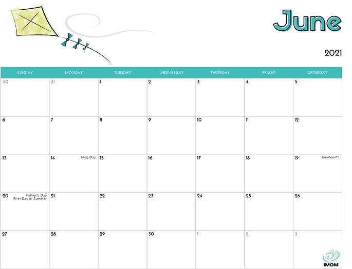 June 2021 Calendar from iMom