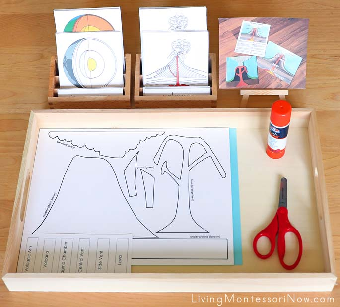 Layers of the Earth and Parts of a Volcano Montessori 3-Part Cards with Parts of a Volcano Craft