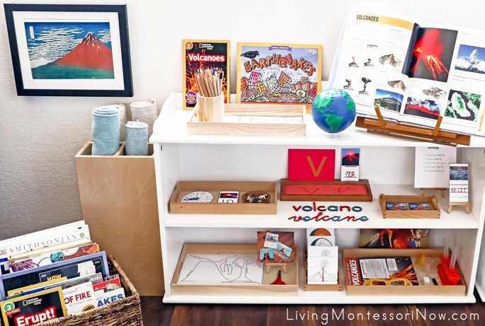 Montessori Book Basket and Shelves with Volcano and Earthquake Themed Activities