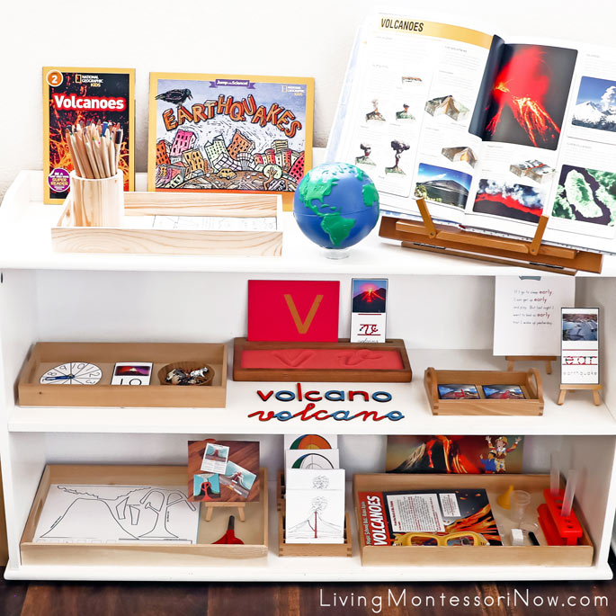 Montessori Shelves with Volcano and Earthquake Themed Activities