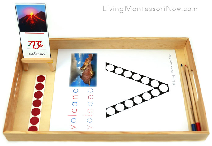 Volcano Do-a-Dot Letter V Tray with Stickers