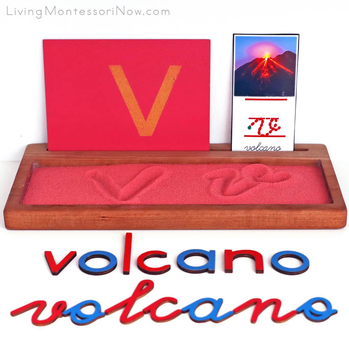 Volcano Salt Writing Tray with Movable Alphabet Spelling