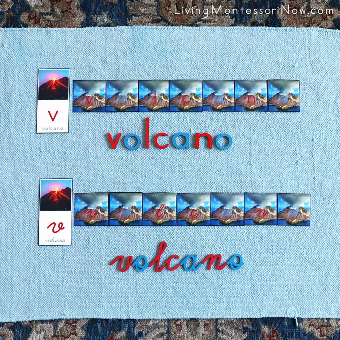 Volcano Word Building with Alphabet Cards in Manuscript and Cursive and Movable Alphabet Letters