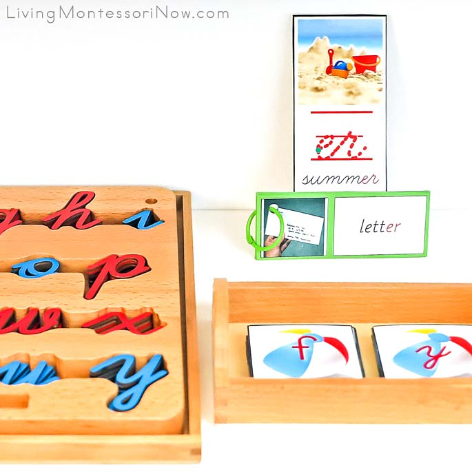 Cursive Movable Alphabet with Beach Ball Alphabet Cards in Manuscript and Cursive and er Summer Phonogram Work