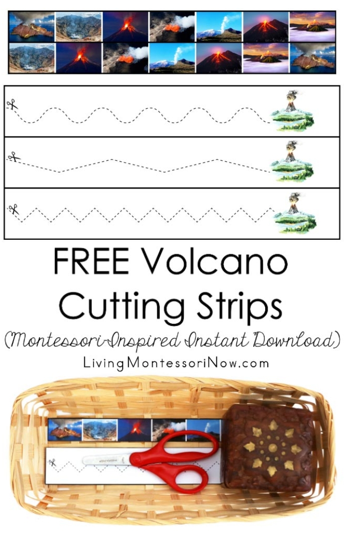 FREE Volcano Cutting Strips (Montessori-Inspired Instant Download)
