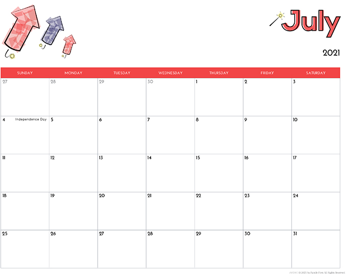 July 2021 Calendar from iMom