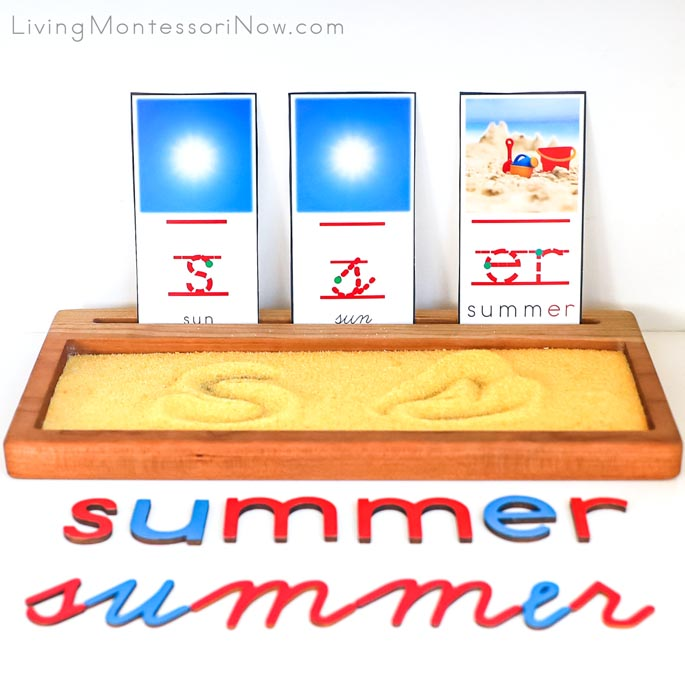 "Letter S for Sun Font Cards with Salt Tray and ""er"" for Summer Phonogram Card"