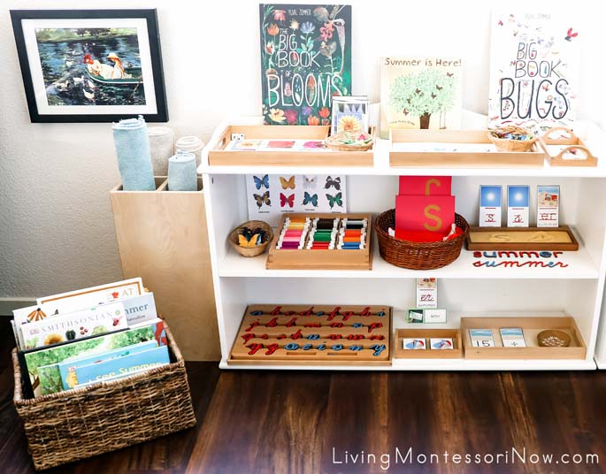Montessori Book Basket and Shelves with Summer-Themed Activities