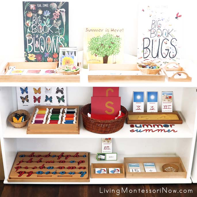 Montessori Shelves with Summer-Themed Activities