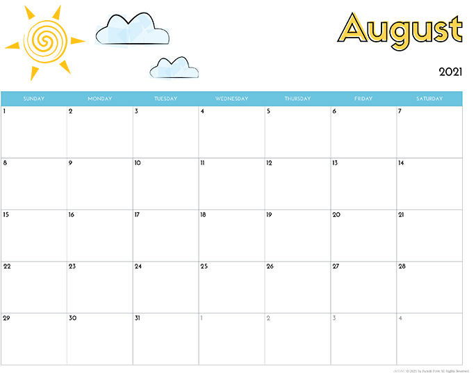 August 2021 Calendar from iMom