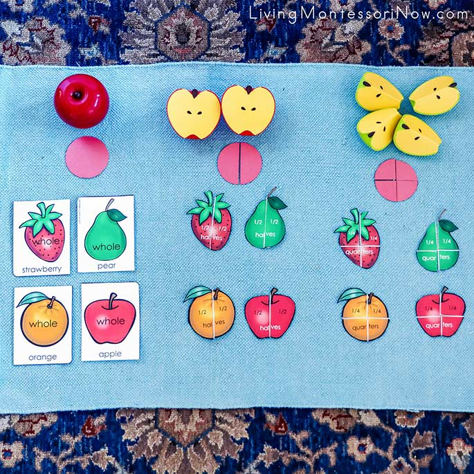 Fruit Fraction Work Using Magnetic Apple Fractions and Free Printables