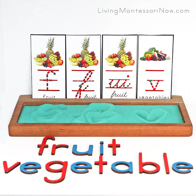 "Letter F for Fruit and V for Vegetable Font Cards with Sand Tray and ""ui"" for Fruit Phonogram Card"
