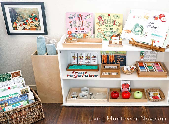Montessori Book Basket and Shelves with Fruit and Vegetable Themed Activities