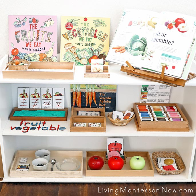 Montessori Shelves with Fruit and Vegetable Themed Activities