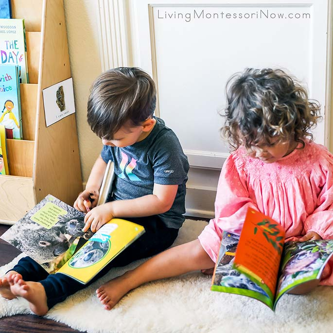 2-Year-Old Cousins Looking at Koala Books Near the I Can Rest Mindfulness Card