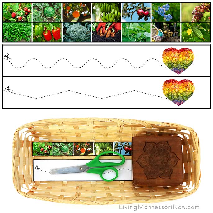 Fruit and Vegetable Cutting Strips with Basket