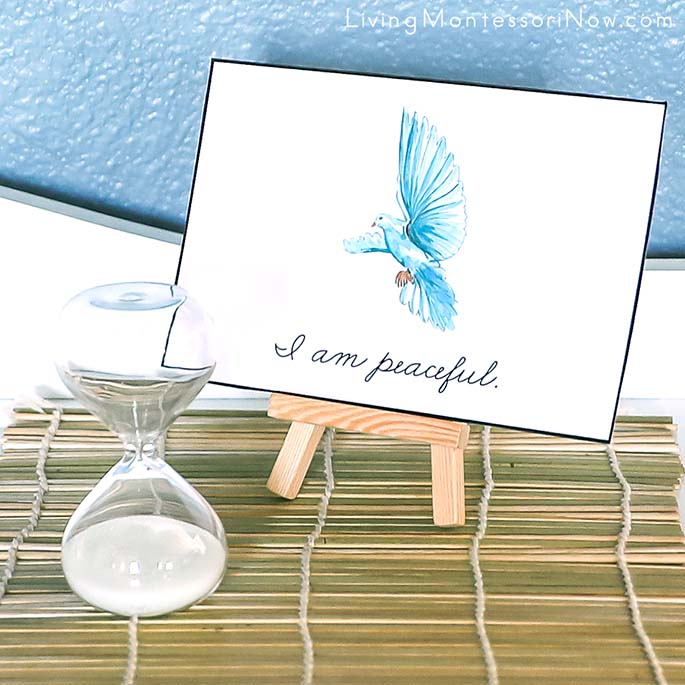 """I Am Peaceful"" Mindfulness Affirmation Card with 3-Minute Sand Timer"
