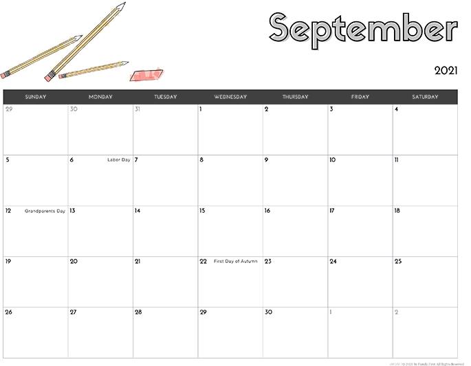 September 2021 Calendar from iMom