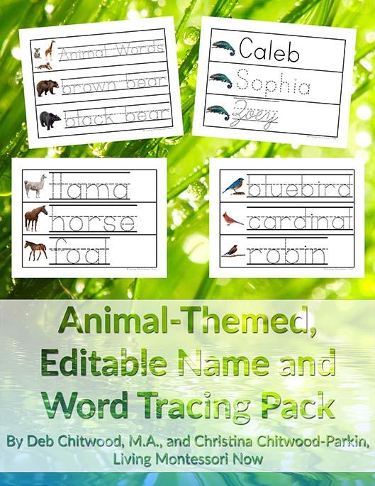 Animal-Themed, Editable Name and Word Tracing Pack