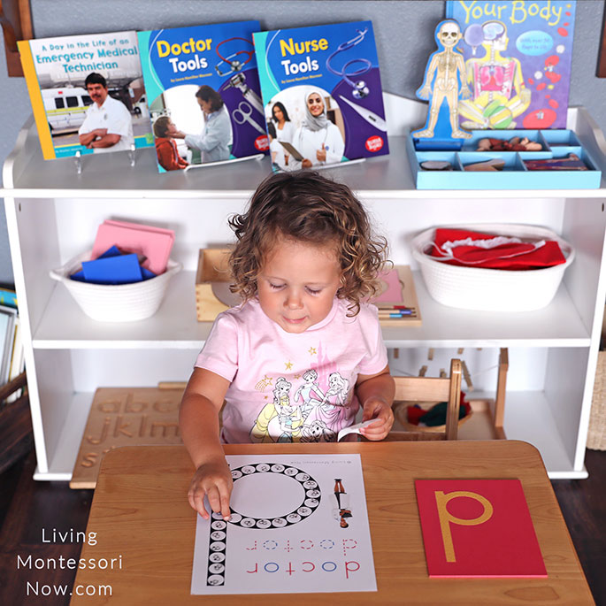 Concentrating on Her Work with Stethoscope Stickers and Doctor Do-a-Dot Page