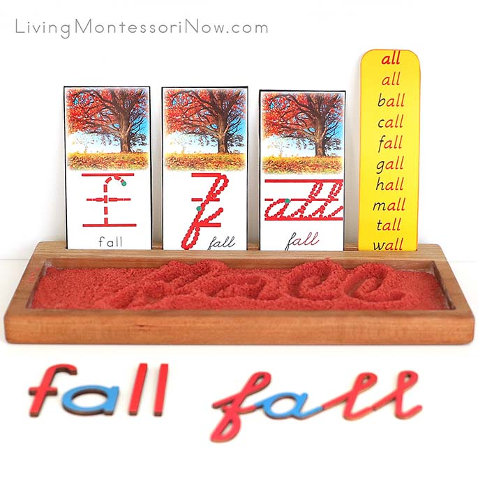 Fall Sand Writing Tray with Movable Alphabet Spelling