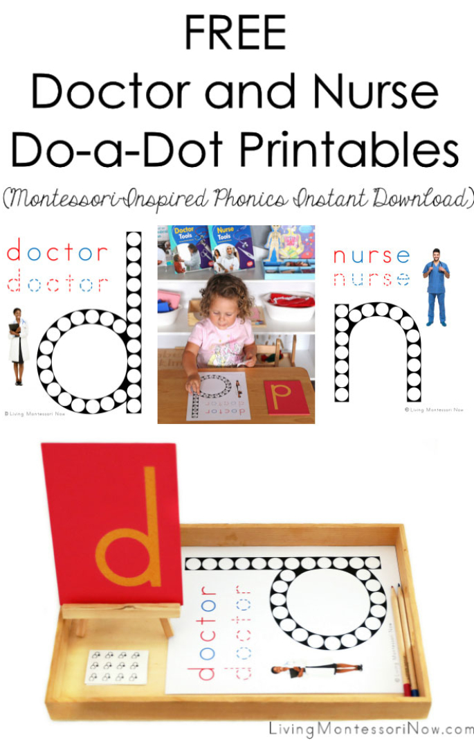 Free Doctor and Nurse Do-a-Dot Printables (Montessori-Inspired Phonics Instant Download)