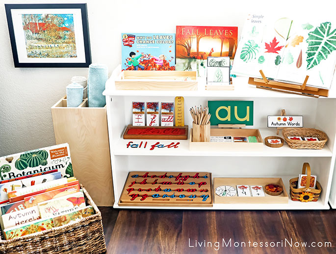 Montessori Book Basket and Montessori shelves with Fall-Themed Activities