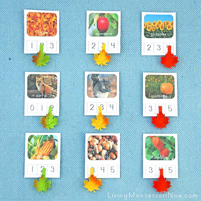 Spanish Fall Syllable Counting Cards