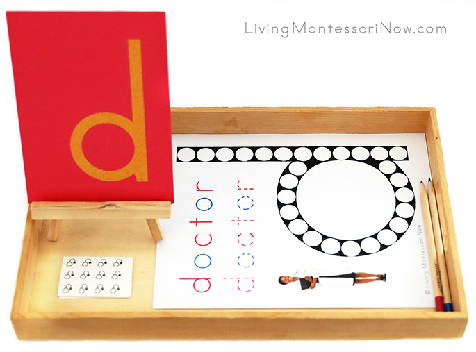 Tray with Letter D Do-a-Dot Doctor Printable and Stethoscope Stickers