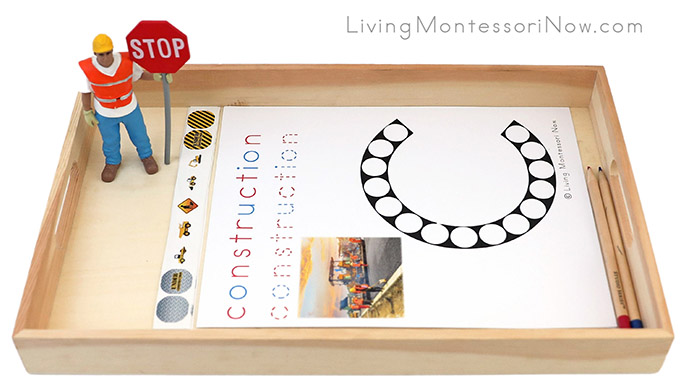 Construction Do-a-Dot Phonics Tray with Construction Sticker Work