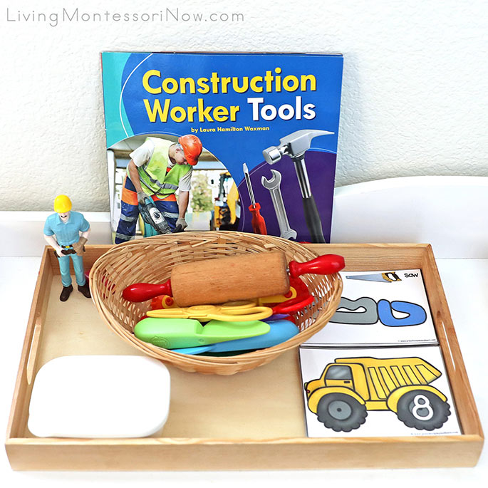 Construction Worker Tools Book with Construction-Themed Playdough Tray