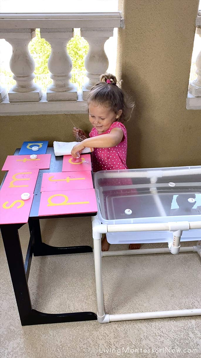 Matching Bottle Cap Letters to Sandpaper Letters
