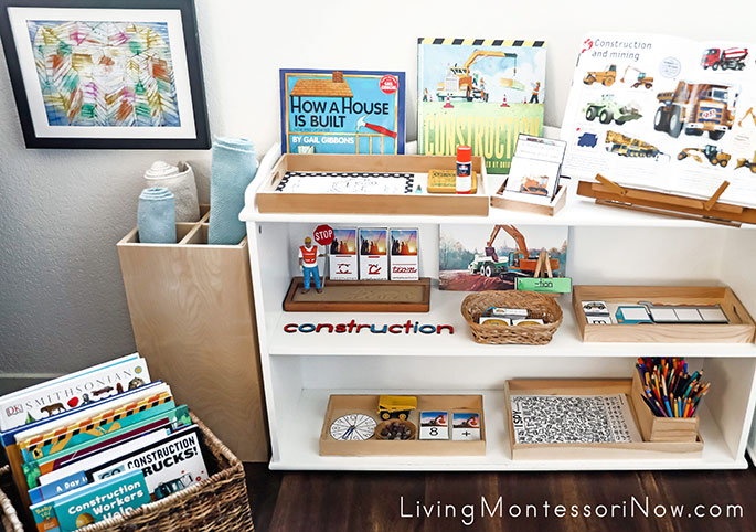 Montessori Book Basket and Shelves with Construction Activities