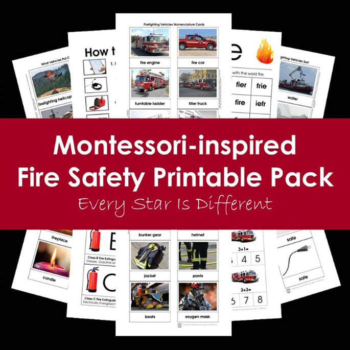 Montessori-Inspired Fire Safety Printable Pack from Every Star Is Different