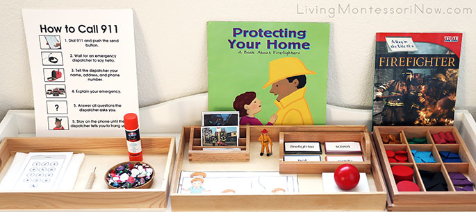Montessori Shelf with Fire Safety Books and Materials