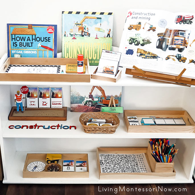 Montessori Shelves with Construction Activities
