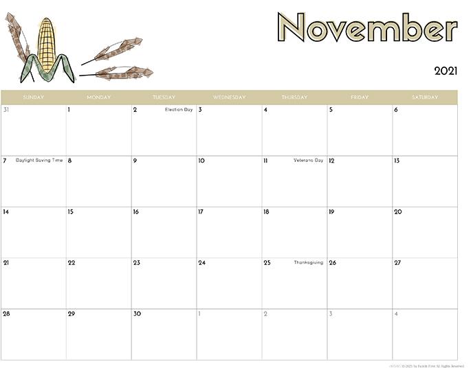 November 2021 Calendar from iMom