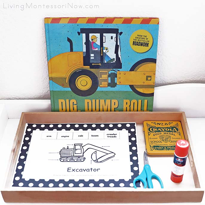 Sally Sutton Construction Book with Construction Vehicle Labeling Activity