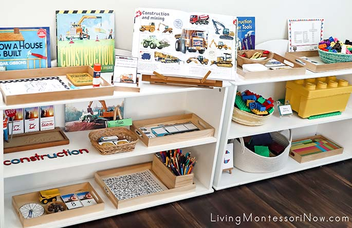 Shelves with Construction Materials and Construction Building Toys