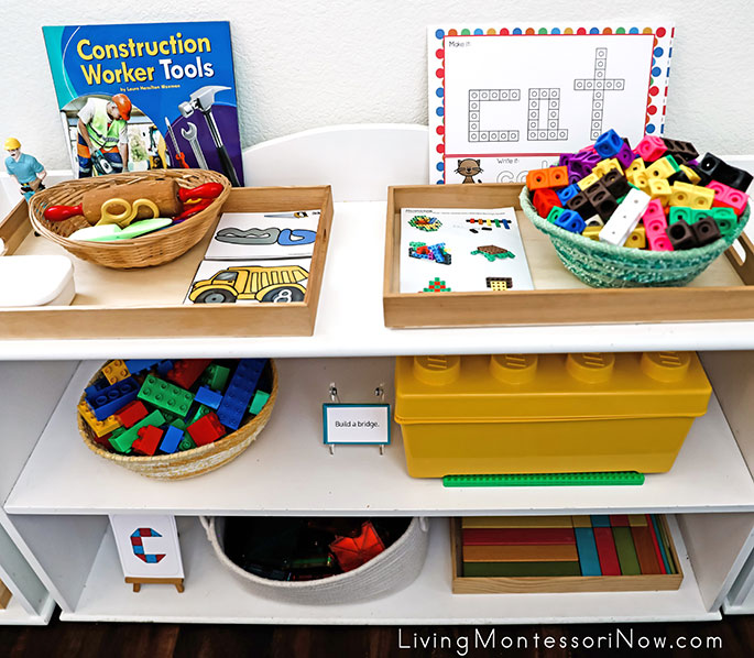 Shelves with Construction Toys and Printables