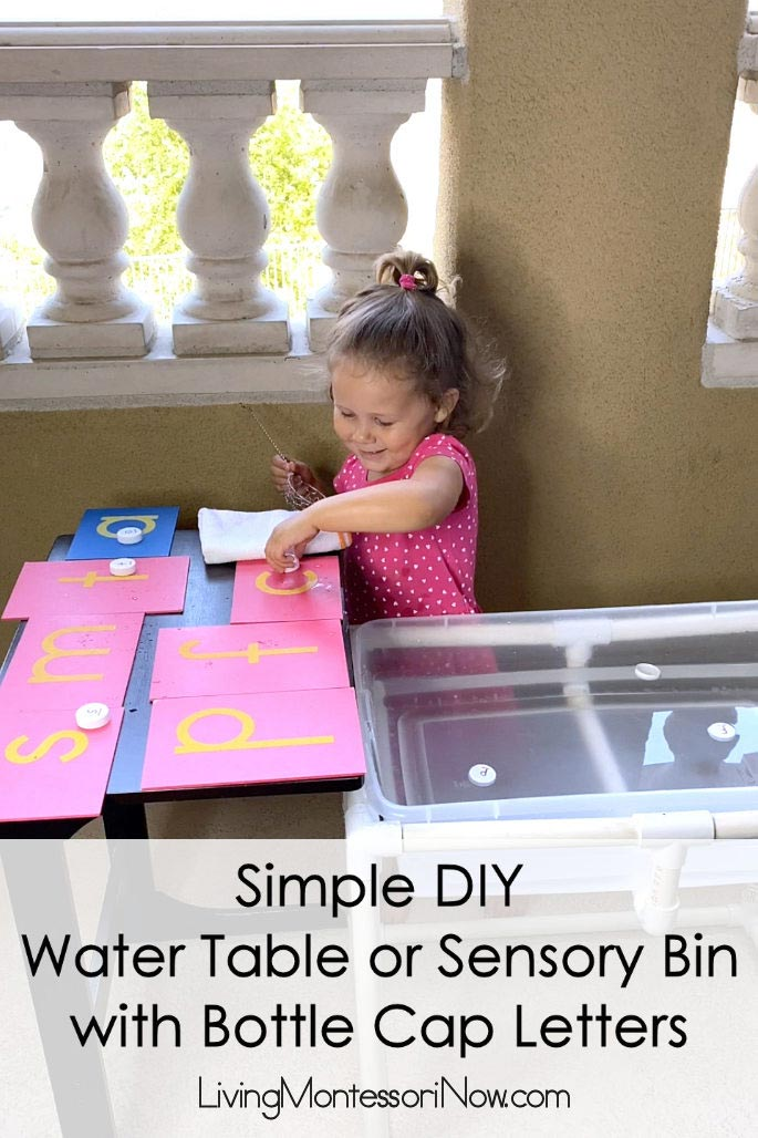 Simple DIY Water Table or Sensory Bin with Bottle Cap Letters